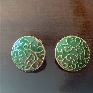 ⭐️3/$20 Vtg Green & Gold Round Circle Earrings
